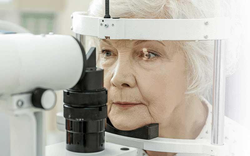 Patient getting eye examination